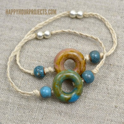 Easy Ceramic Bead & Hemp Connector Bracelets