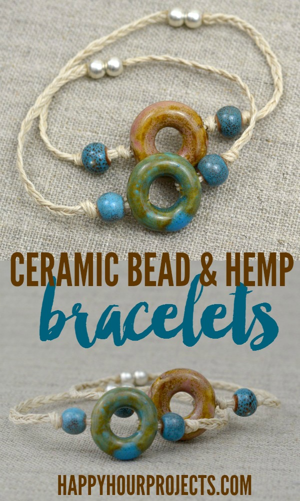 Easy Ceramic Bead & Hemp Connector Bracelets at www.happyhourprojects.com