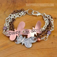 """Change is Good"" Butterfly Stamped Mixed Media Bracelet"