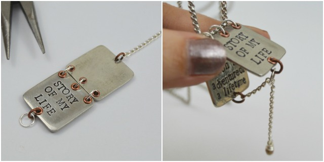 Faux Locket Story Book Necklace | Personalized with metal stamping and rivets at www.happyhourprojects.com