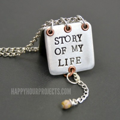 Faux Locket Stamped Story Book Necklace