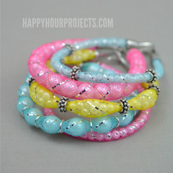 DIY Pearl Mesh Bracelets at www.happyhourprojects.com