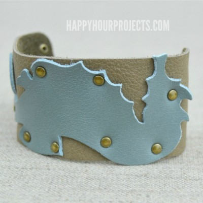 Leather Seahorse Themed Cuff