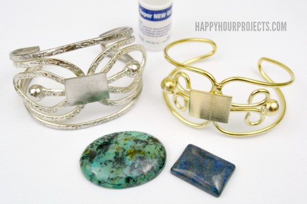 Easy DIY Stone Cuff Bracelets at www.happyhourprojects.com | A one-minute DIY, just mix and match wire bases and stone cabochons!