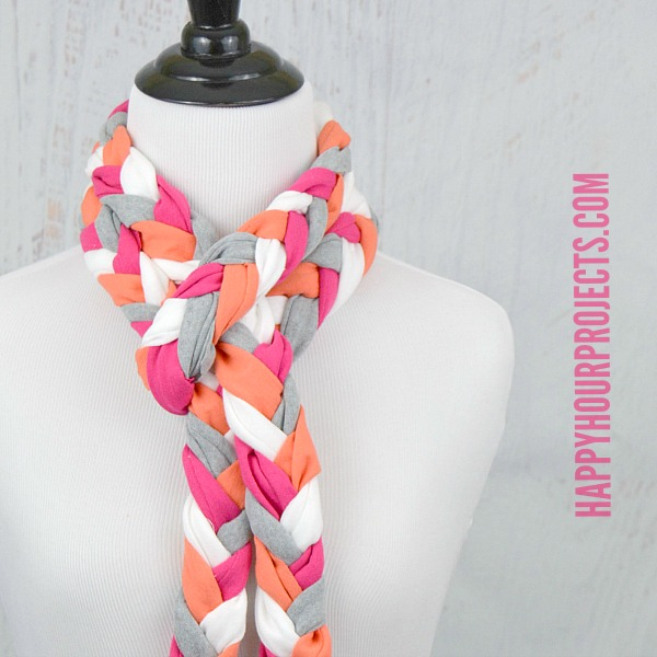 Recycled T-Shirt Project | No-Sew Braided Tassel Scarf at www.happyhourprojects.com