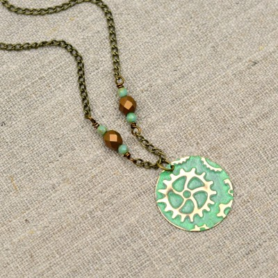 Embossed Steampunk Necklace
