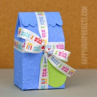 Embossed Treat Boxes at www.happyhourprojects.com | Great for parties and treats with quick assembly!