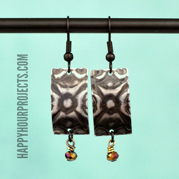 Etched Earrings at www.happyhourprojects.com | Use paper crafting techniques on metal blanks for a great mixed media look.