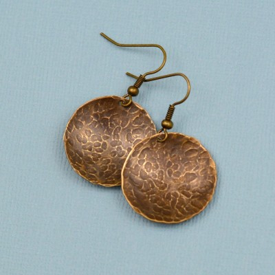 Simple Hammered Brass Earrings