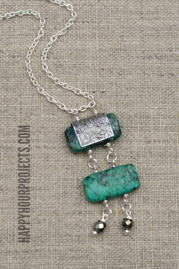 Turquoise Bead Ladder Necklace at www.happyhourprojects.com