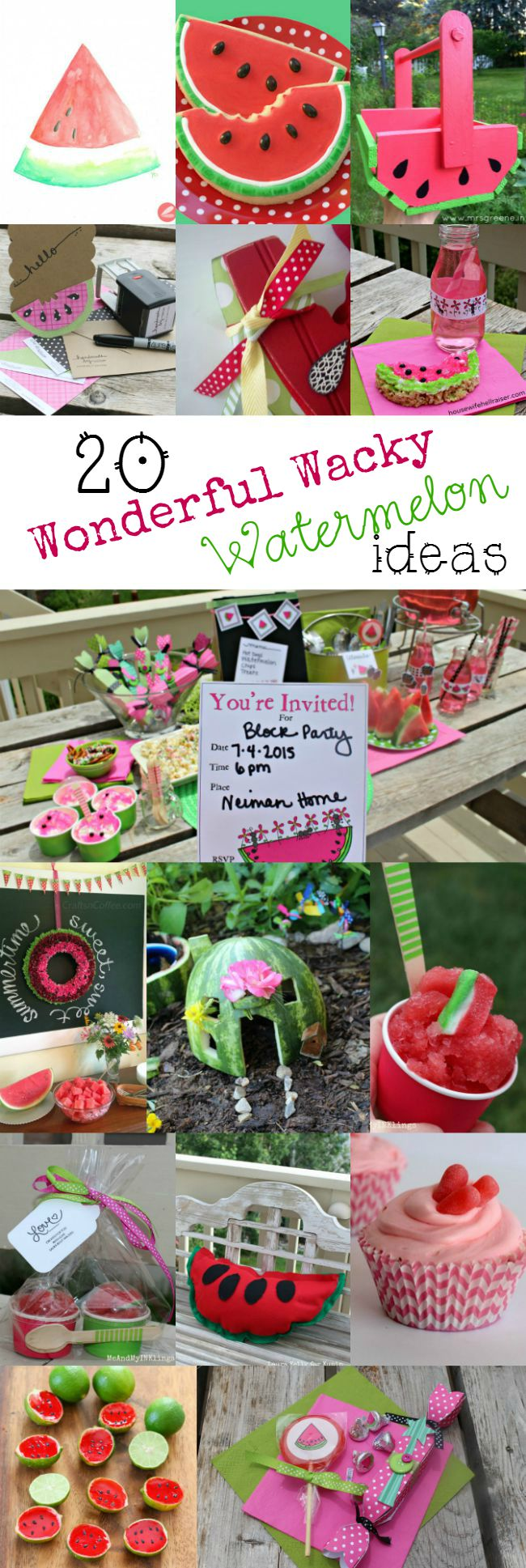 20 Wonderful Watermelon Crafts and Recipes at www.happyhourprojects.com