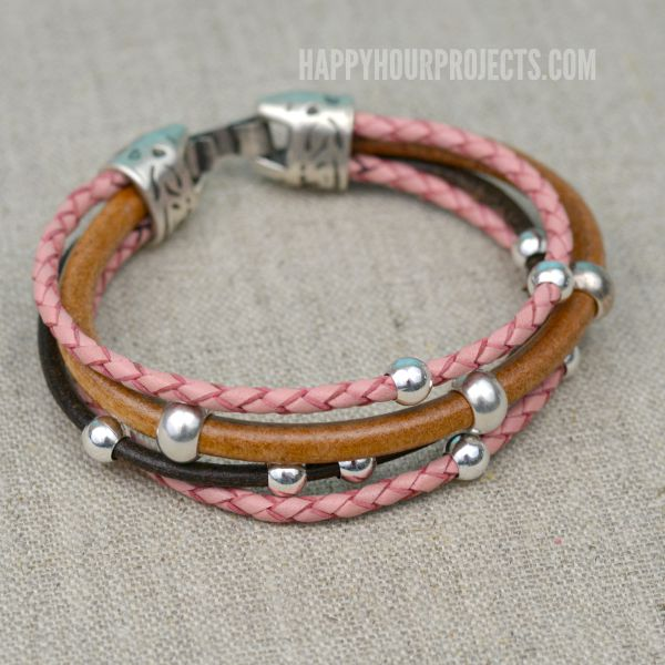 Easy Diy Beaded Leather Bracelet At Www Hyhourprojects A Glue And