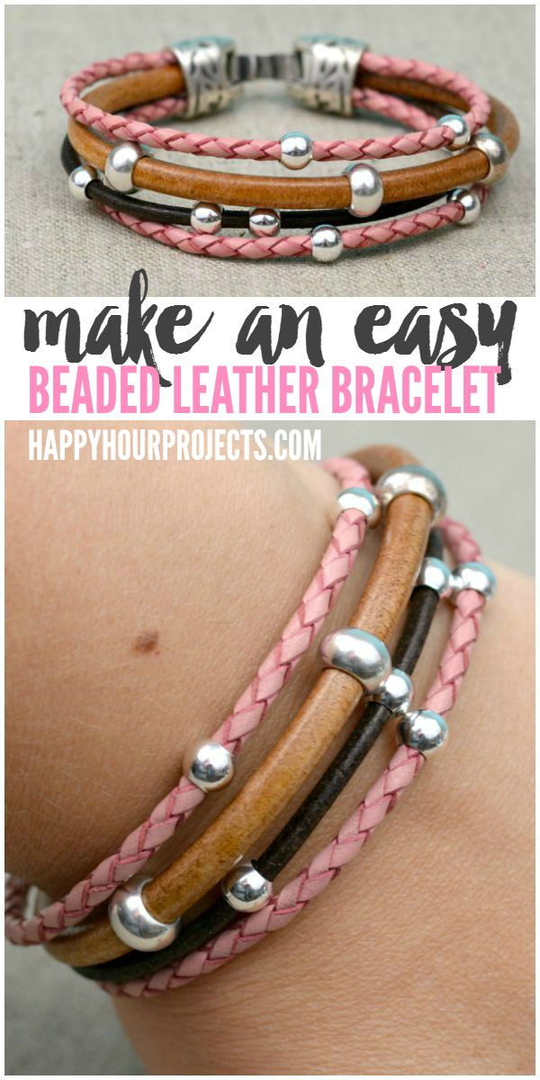 Easy DIY Beaded Leather Bracelet at www.happyhourprojects.com | A glue-and-go design - if you can measure, cut. and glue, then this DIY is perfect for you!