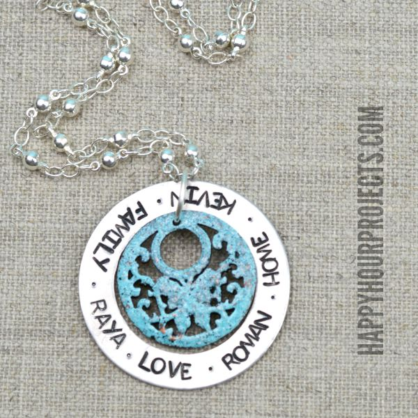 Cold Enameled Family Stamped Washer Necklace at www.happyhourprojects.com