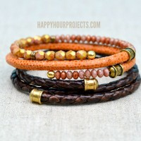 DIY Leather Memory Wire Braceletsat www.happyhourprojects.com