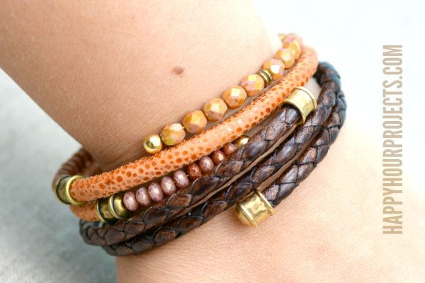 DIY Leather Memory Wire Bracelets at www.happyhourprojects.com