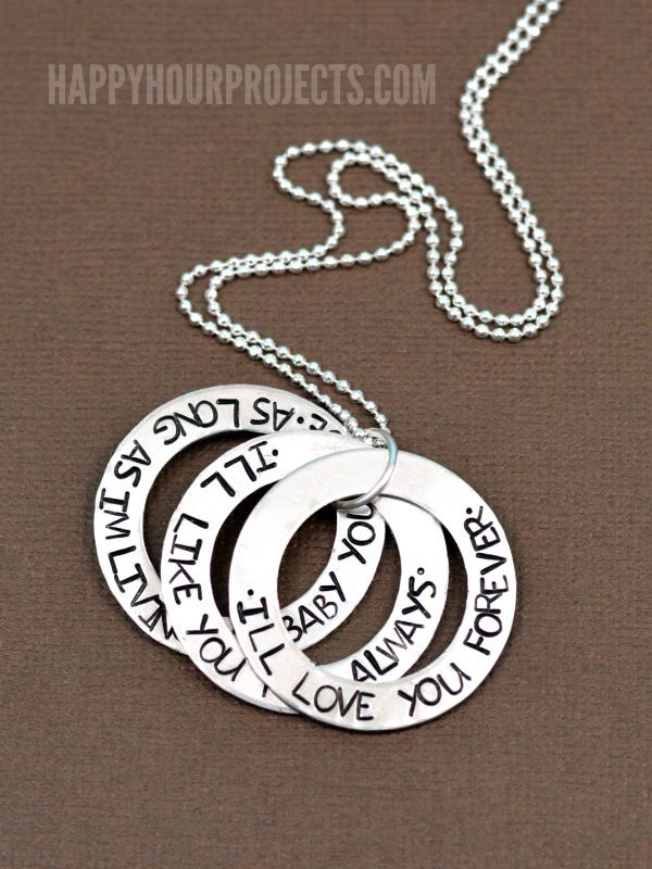 I'll Love You Forever Hand Stamped Washer Necklace at www.happyhourprojects.com | A tutorial for hand-stamping your own washer necklace