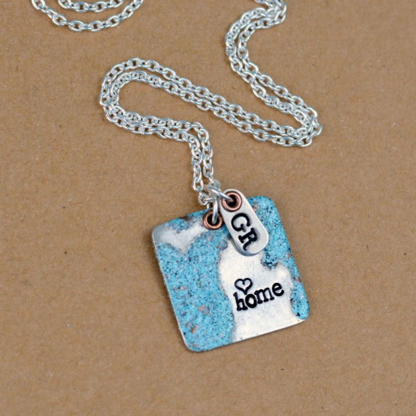 Great Lakes Stamped & Enameled Necklace at www.happyhourprojects.com