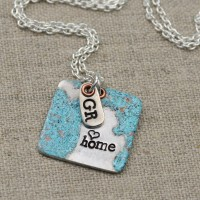 Stamped and Enameled Great Lakes Necklace