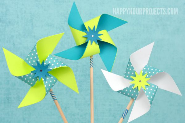 Easy DIY Pinwheels at www.happyhourprojects.com