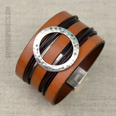 WIde DIY Leather Cuff Bracelet at www.happyhourprojects.com
