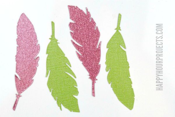 Glitter Glam Feather Magnets at www.happyhourprojects.com   Die-cut magnets in any shape you want with the Xyron Creative Station