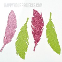 Glitter Glam Feather Magnets at www.happyhourprojects.com | Die-cut magnets in any shape you want with the Xyron Creative Station