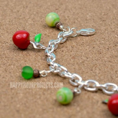 Apple Themed Charm Bracelet at www.happyhourprojects.com