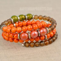 Autumn Memory Wire Bracelet | Blueberry Cove September Bead Box