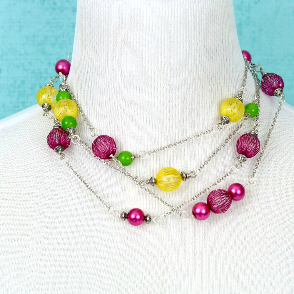 bright diy beaded necklace happy hour projects