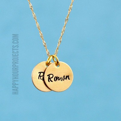 Hand Stamped Jewelry | Tiny Brass Disc Charm Necklace at www.happyhourprojects.com
