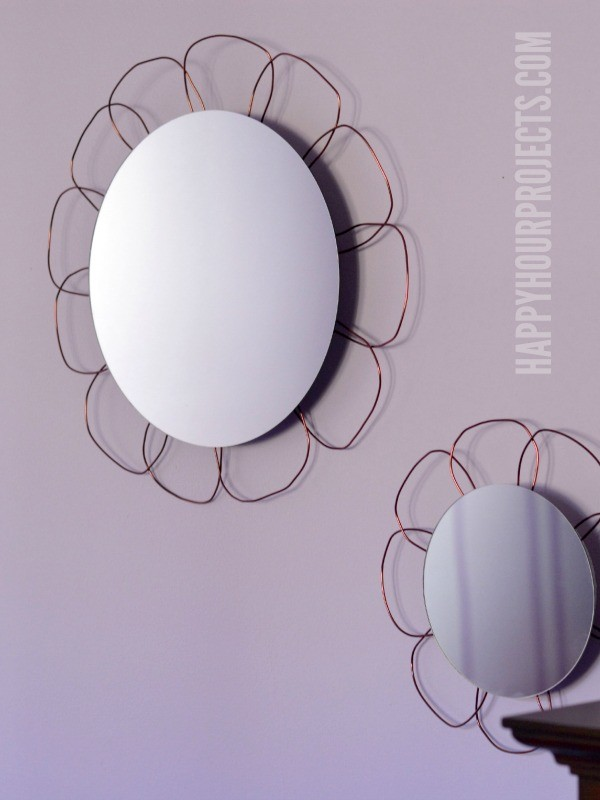 Easy Floral Mirrors at www.happyhourprojects.com #MakeItFunCrafts