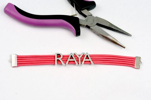 Easy DIY: Leather Name Bracelet at www.happyhourprojects.com