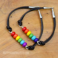 Rainbow DIY Bead and Leather Bracelets at www.happyhourprojects.com