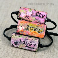 Altered Art Bracelets | A mixed media jewelry project using Faber-Castell Design Memory Craft® Gelatos® to create tiny, wearable works of art at www.happyhourprojects.com