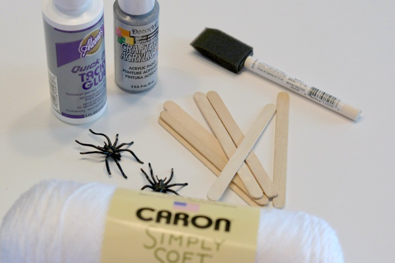 Halloween Crafts for Kids | Craft Stick Spiderwebs at www.happyhourprojects.com