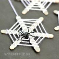 Halloween Crafts for Kids | Craft Stick Spiderwebs