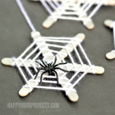 Halloween Crafts for Kids | Craft Stick Spiderwebs