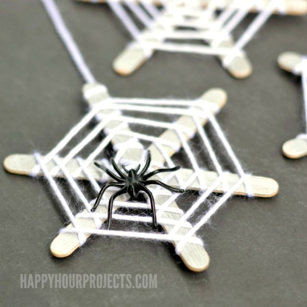 Halloween Spider Web Popsicle Craft Sticks