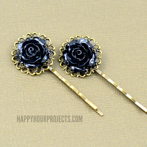 Easy Gothic-Inspired Hair Pins at www.happyhourprojects.com