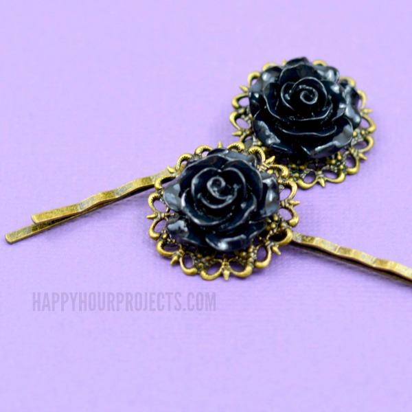 a8fd2eefe7bc2 Easy Gothic-Inspired DIY Hair Pins - Happy Hour Projects