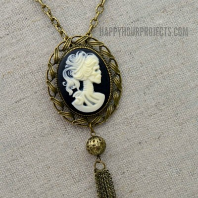 DIY Halloween Accessories | Skeleton Cameo Necklace at www.happyhourprojects.com