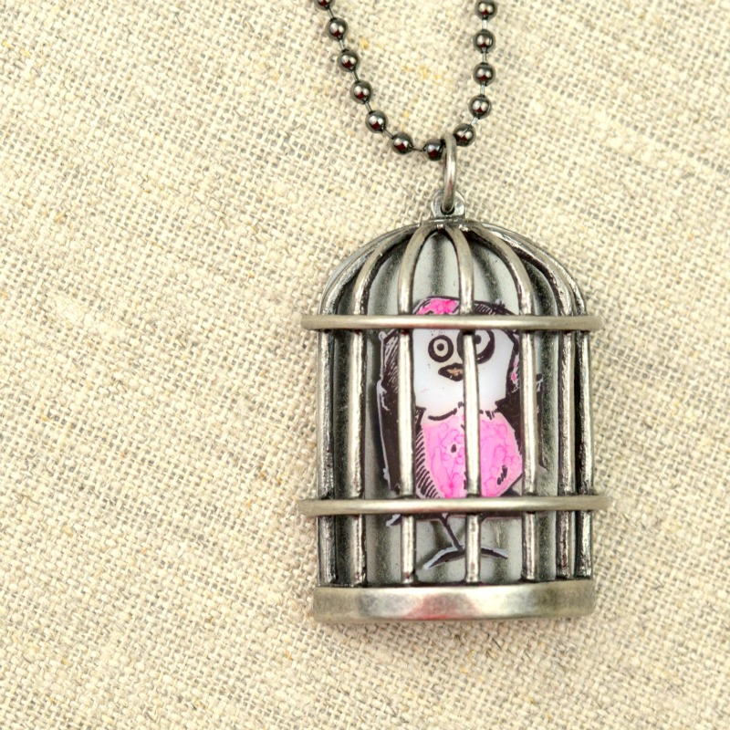 Bird Crazy Birdcage Necklace at www.happyhourprojects.com