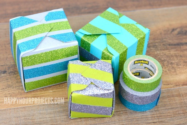 Glittering Gift Boxes with Scotch® Brand at www.happyhourprojects.com #ad #CraftAmazing