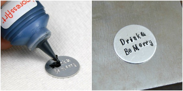 Hand Stamped Gift Ideas | Stamped Wine Stopper at www.happyhourprojects.com