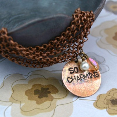 Stamped charm and chain bracelet - So Charming! at happyhourprojects.com