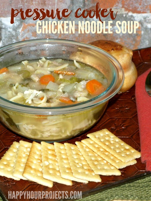 Pressure Cooker Chicken Noodle Soup at www.happyhourprojects.com | Don't have time to simmer on the stove all day? This classic recipe adapted to the pressure cooker is comfort-food ready in 90 minutes or less!