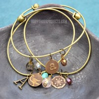 Embossed Brass DIY Charm Bracelets