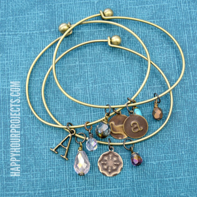 Embossed Brass DIY Charm Bangle Bracelets at www.happyhourprojects.com