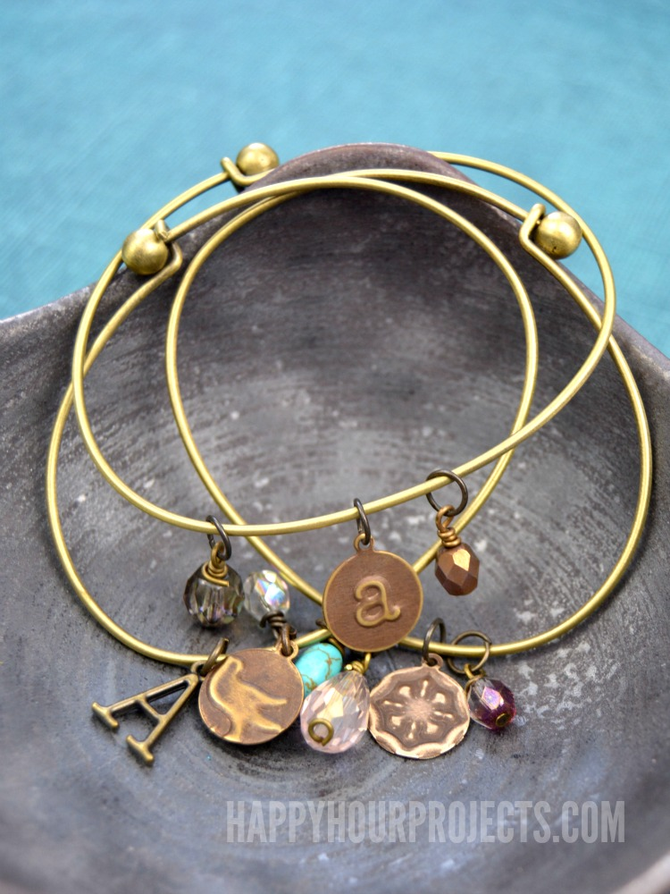 Embossed Br Diy Charm Bangle Bracelets At Www Hyhourprojects